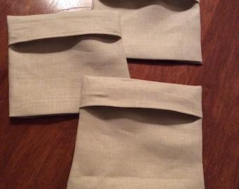 Linen Sandwich or Snack Bags, reusable Set of 3