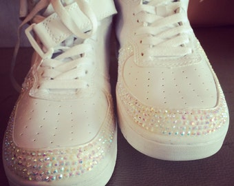 Blinged White Sneakers with AB white rhinestones