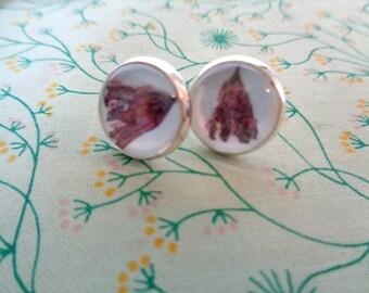 Discount - Plum Colored Pressed Flower Petal Earrings