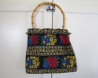 1950's Edelweiss Tapestry Purse, Purse, Sewing Bag, Knitting Bag, Tapestry, Tapestry, Edelweiss, German, Austrian, 1950's, Bamboo