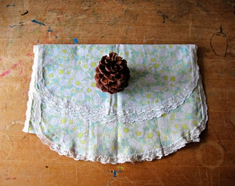 Vintage Dresser Scarf, Pale Blue, Green Floral, Table Runner, Cotton Dresser Scarf, Hand Tablecloth, Doily, Doilies, Lace Edge, Made