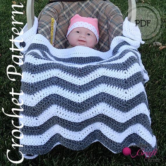 Crochet Pattern - Chevron Car Seat / Stroller Baby Blanket