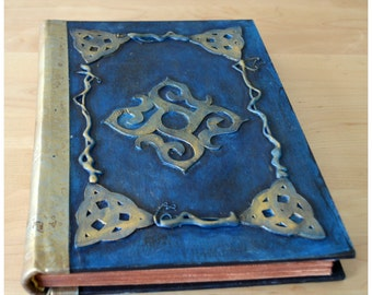 Handmade Bound Journal, Spellbook, Notebook, Diary with hand decorated papers