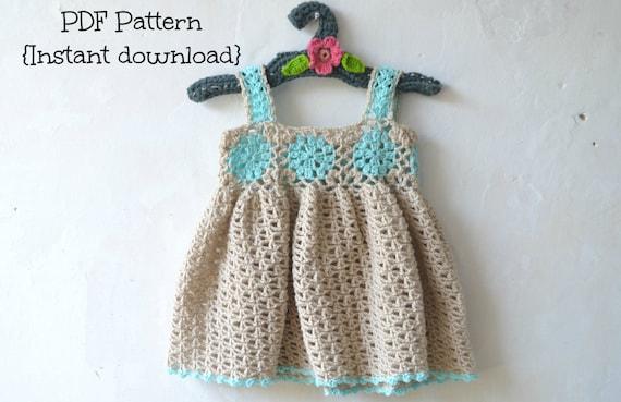 Crochet baby dress pattern crochet baby by TheLazyHobbyhopper