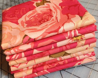 HALF YARD cut of  Martha Negley - Rose Garden - Packed Rose in Natural