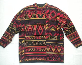 Vintage 90s  Aztec Tribal Pattern Sweater Native American Southwestern Print Medium Made in Germany by Lucia