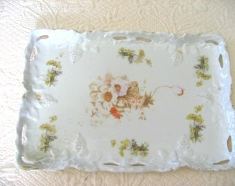antique ceramic biqsue rectangular scalloped tray with embossed flowers rose queen ann's lace