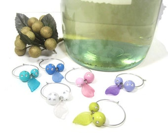 Beaded Wine Glass Charms / Pastel Wine Class Charms / Set of 6