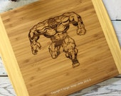 INCREDIBLE HULK cutting board , man cave gift , unique mens gift ,spidey gifts , bruce banner