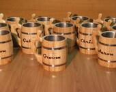 9 Personalized Wooden Beer mug , 0,8 l (27oz) , natural wood, stainless steel inside,groomsmen gift,n01