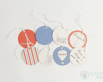 Set of 8 Gift Tags. Paris Gift Tags.