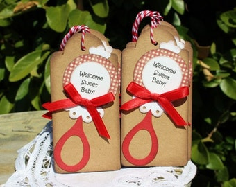 Baby Gift Tags -  set of 6 - Baby Shower Tags - Welcome Sweet Baby - Baby Rattle Tag