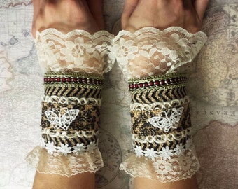 Lacy Recycled Fabric Victorian Lolita Cuffs