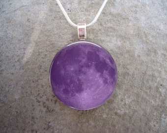 Purple Full Moon - Glass Pendant Necklace - Astronomy Jewelry