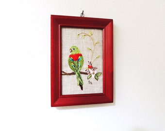Little parrot framed embroidery art with tropical flowers