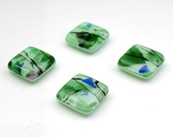 Dark Green and Mint Green Fused Glass Magnets, Set of Four Collage Glass with Bits of Blue and Purple