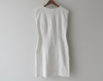 1950s White Woven Cotton Fitted Shift Dress / Vintage 50s Minimalist Wedding Dress