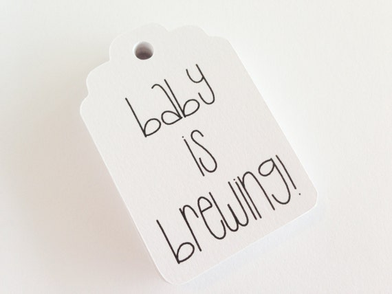 Baby is Brewing - Black + White Gift Tag -  2.25 x 1.5 inch - Baby Shower. Gender Reveal. Baby Shower Favor Tags. It's a girl. It's a boy.