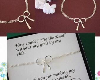 2 Bow Bridesmaids Bracelet, Tie the Knot, Bridesmaid Gift, Silver Bow, Silver Knot Bracelet, Thank you card, Bow Bracelet