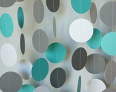 Teal / Gray / White Circle Paper Garland, Teal Gray Baby Shower Decor, Teal, Gray Wedding, Teal Birthday Party Decor, 10 feet long