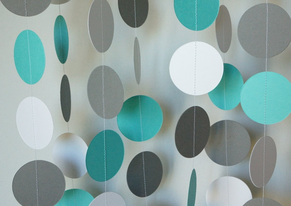 Teal Gray White Circle Paper Garland Teal Gray Baby