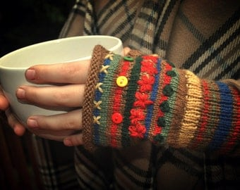 Rolled Edge Fingerless Mitts Gloves  Primary colors MADE TO ORDER