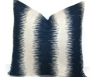 Pillow Cover, Southwestern Inspired Navy and Cream Pillow Cover, Tribal Pillow, Ikat Pillow Cover, Kilim Pillow