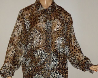 Sheer Animal Print Blouse Vintage 80s Style