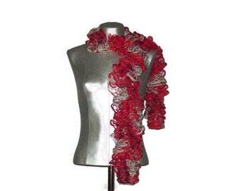 Valentines Day Scarf - Crimson Red - Gray - Silver metallic - Hand knit - Mesh yarn - Ruffle Scarf