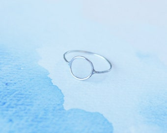eternity- sterling silver thin circle 20 gauge ring