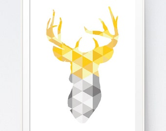Deer Head Art, Yellow and Gray Geometric Deer Print,  Geometric Deer Head Wall Art, Deer Triangle Geometric Art, Golds Art, INSTANT DOWNLOAD