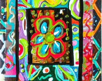 Flower Collage Print, Whimsical Flower Art, Flower Wall Art ,Girls Room Decor, Flower Decor, Art For Women, Enter Happy by Paula DiLeo_