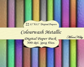 "Instant Download - Digital Scrapbook Paper Pack - Colourwash Metallic - MK45 - 22 12""x12"" Digital Papers - Collage Sheets - Scrapbooking"