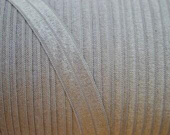 """Metal Grey 5/8"""" fold over elastic, shiny elastic, elastic by the yard, FOE elastic, diy headband supply. elastic for baby headband"""