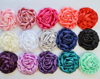 Large Satin Rolled Rose/Rosettes- YOU PICK quantity- fabric flowers, satin flower, DIY headband supplies, wholesale flowers