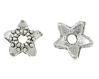 50pc antique silver 6mm metal bead cap-5819
