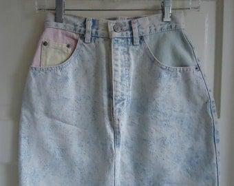 Vintage 80s Acid Wash Pastel Mini Skirt sz XS