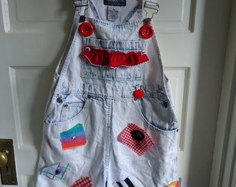 Vintage 80s Acid Wash Overall Shorts with Patches sz S/M