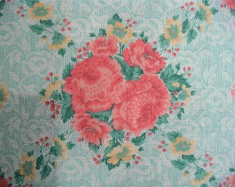 Vintage Cabbage Roses fabric 2 1/2 yd x 44 in