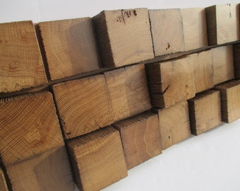 Wood Wall Sculpture -  Reclaimed Modern Wood - Staggered Height Barn Beam Blocks - Wall Decor  (24PWS)