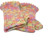Texting Gloves, Fingerless Gloves Hand Knit Coral Reef  Tweed Ladies Medium 6 Inches Long