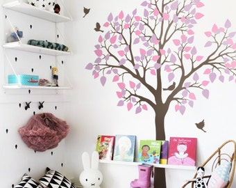 "Tree Wall Decal Wall Sticker - Baby Nursery Tree Wall Mural - Large Kids Room sticker - Large: approx 77"" x 61"" - KC020"