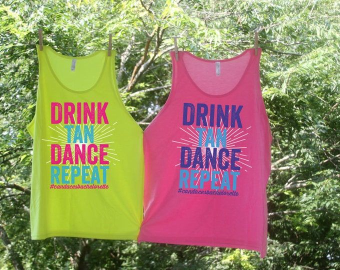 Sets - Drink Tan Dance Repeat - Personalized Bachelorette Beach Tanks