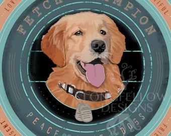 Golden Retriever - Fetch Champion - Peace Love Dogs - Square Print