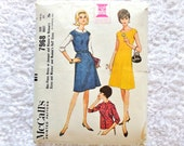 Vintage McCall's 7968 Dress or Jumper Pattern 1965 Size 14 1/2