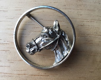 Vintage Sterling Silver Horse Head Brooch Pin Marked Antique Brooch Antique Sterling Horse Equestrian Jewelry