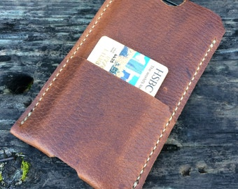 Leather iPhone 6 case, iPhone wallet, iPhone 6 sleeve, Full grain leather, Black, Brown, Tan, 100% made in America