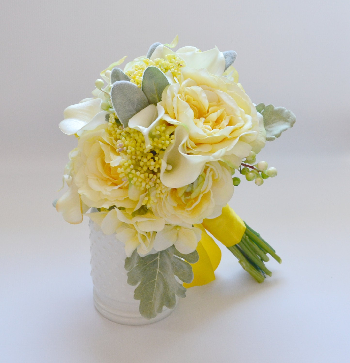Wedding Flowers Yellow Roses: Yellow And Gray Bouquet Yellow Bouquet Wedding Bouquet
