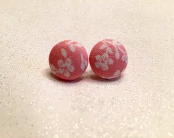 Pink Floral Button Earrings - Fabric Covered Button Earrings - Spring earrings - accessories