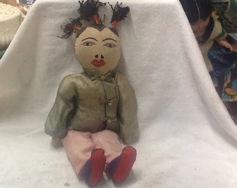 Vintage 1940's Cloth Asian Doll
